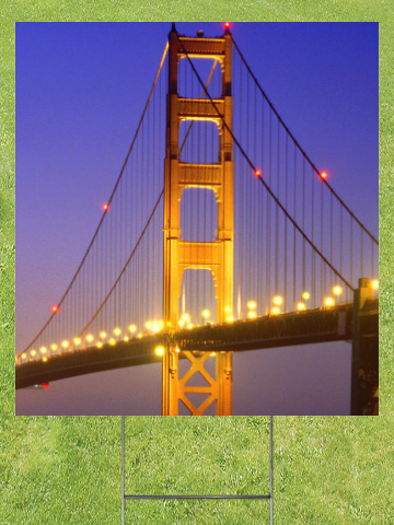 Golden Gate at Night Lawn Sign 18x24