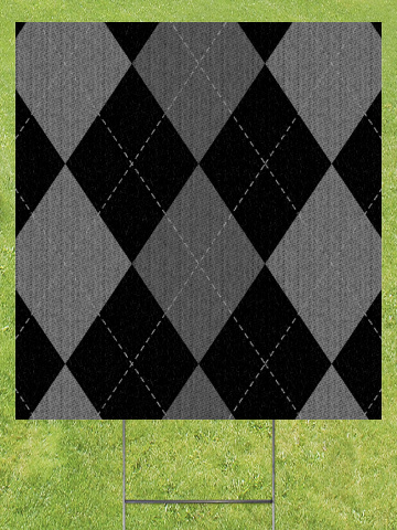 Gray Argyle Pattern Lawn Sign 18x24