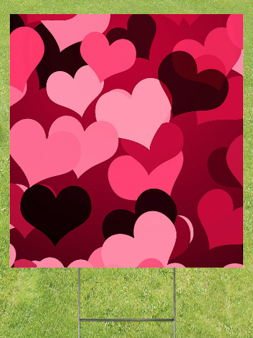 Hearts on Hearts Lawn Sign 18x24