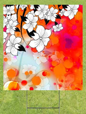Tropical Flower Motif Lawn Sign 18x24