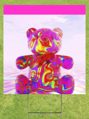 Pink Beary Bear Lawn Sign 18x24