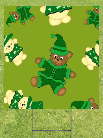 St Pattys Day Bears Lawn Sign 18x24