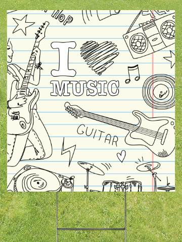 I Heart Music Lawn Sign 18x24