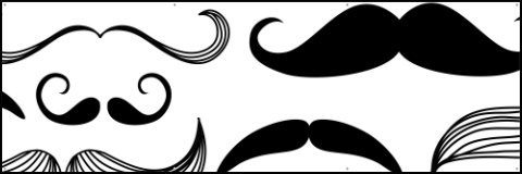 Black and White Mustaches Banner 60x20