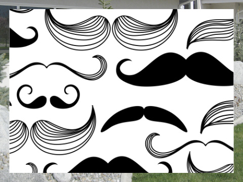 Black and White Mustaches Exterior Signs 24x18