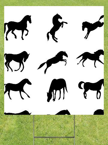 Horses Lawn Sign 18x24
